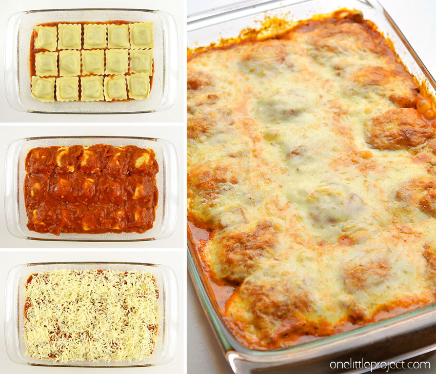 This quick and easy recipe for lazy lasagna with baked ravioli tastes SOOOO good!! It has all the flavours of a traditional lasagna, but you can assemble it in less than 10 minutes! This is such an awesome dinner recipe and such an easy weeknight dinner idea! This is a great vegetarian lasagna recipe, but you can easily add a meat sauce if you want to, or simply use meat ravioli to make it even more hearty! There are so many ways to mix it up!