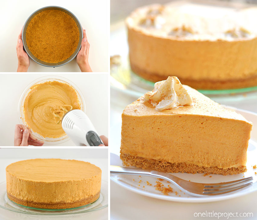 This no-bake pumpkin cheesecake is SO GOOD and it's really simple to make! It's so creamy and delicious! Loaded with all the best fall flavours, it's sure to become one of your favourite fall recipes. This is such an easy no-bake Thanksgiving dessert idea. With a delicious graham cracker crust, and the light and fluffy pumpkin filling, this easy dessert is so perfect for autumn!