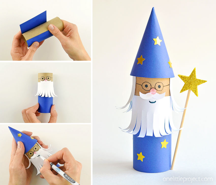 This paper roll wizard is SO CUTE!! And it's really easy to make! What a fun and magical way to transform a toilet paper roll! Such a great recycled craft and a super fun kids craft. Use our free printable template to make it even easier! We love kids activities and crafts that you can actually play with when you're done!