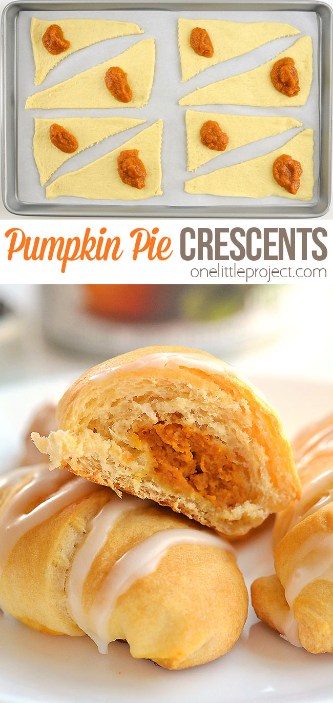 These easy pumpkin pie crescents are SO GOOD and really easy to make. This is such a great fall dessert idea and a delicious treat for Thanksgiving or Halloween. This dessert is quick and easy - ready in less than half an hour - and the whole family loved them! Such a delicious and simple pumpkin recipe using Pillsbury dough!