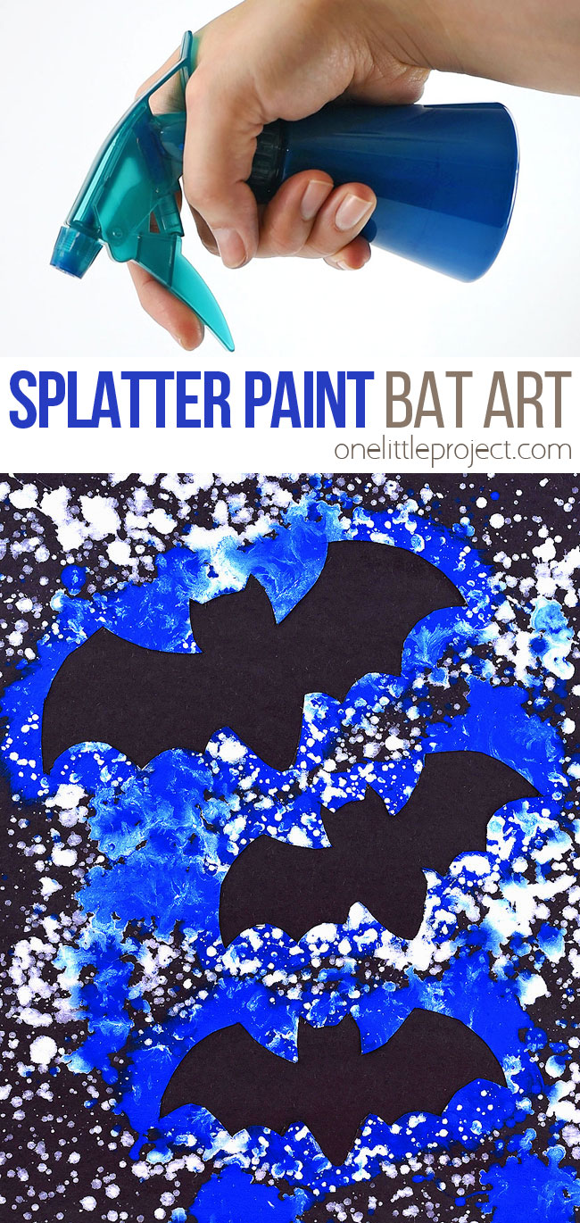 This splatter paint bat artwork is SO FUN to make! Using dollar store spray bottles and washable paint you can quickly make really awesome silhouette artwork of bats in the night sky! This is such a fun craft for kids and a great Halloween project! Such a fun way to learn about negative space at home or in the classroom.