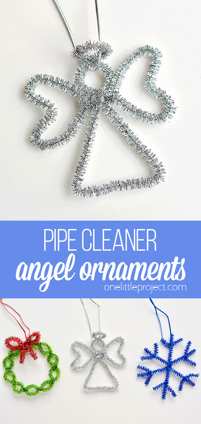 These angel pipe cleaner ornaments are ADORABLE and they're really easy to make. Such a fun way to make homemade Christmas ornaments in less than 5 minutes!