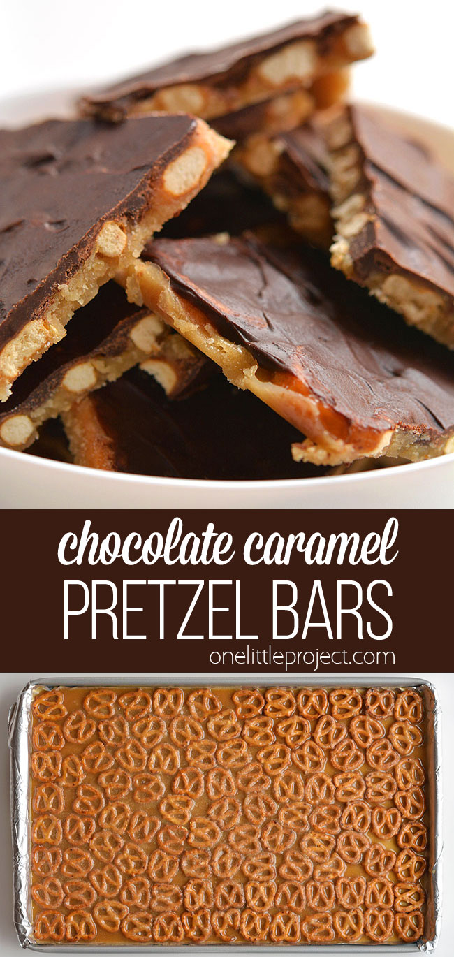 These chocolate caramel pretzel bars are SO GOOD and they're really easy to make! With only 4 ingredients they're a salty, crunchy and addictive treat!