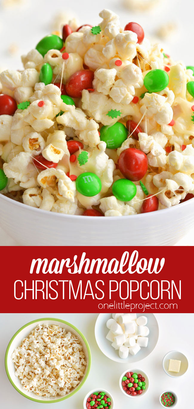 This marshmallow Christmas popcorn is SO GOOD and it's really simple to make. Such a great Christmas treat idea for kids and grown ups! I've also seen it called Santa Crunch Popcorn. Who knew marshmallow popcorn was a thing!? Top it with sprinkles and M&M's and this sweet and salty popcorn is delicious! (And perfect for the holidays!)