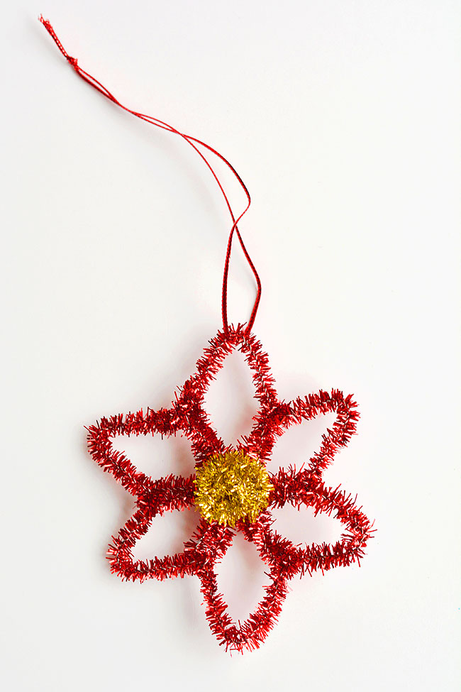 40+ Easy Christmas Crafts for Kids - Poinsettia Pipe Cleaner Ornaments