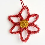 Easy Pipe Cleaner Poinsettia Ornaments