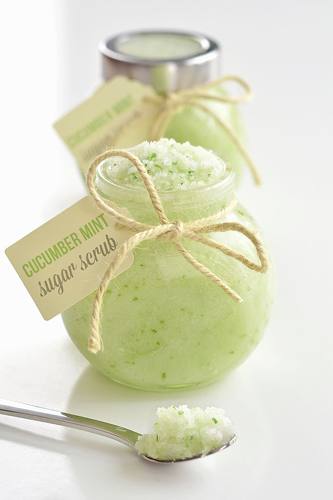 This cucumber mint sugar scrub recipe is so simple to make! It takes less than 10 minutes to whip up a batch using all natural and fresh ingredients (including fresh cucumber)! You can use it on your face, hands, arms and legs and it leaves the skin feeling super soft and silky smooth. It smells AMAZING and it feels so refreshing on the skin. Such a great homemade gift idea or a fun way to pamper yourself!