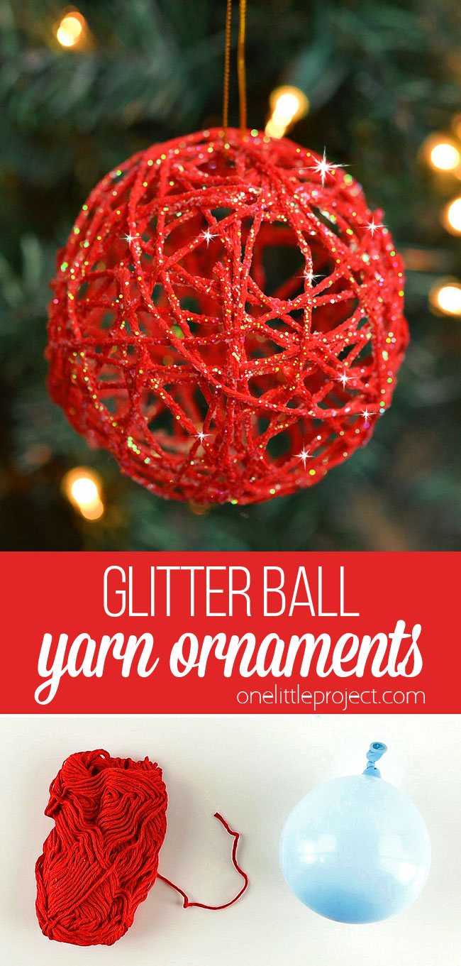 These glitter ball yarn ornaments using balloons are so PRETTY and they're so much fun to make! This is such a fun Christmas craft and a great way to make homemade Christmas ornaments. They look so sparkly and pretty on the Christmas tree! Make them in all your favourite festive colors!