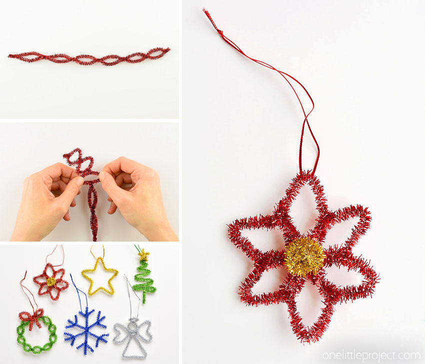 These easy pipe cleaner poinsettia ornaments are SO PRETTY! With a few twists you can make this fun little Christmas craft for kids in less than 5 minutes!