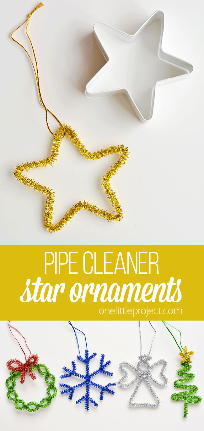 These easy star pipe cleaner ornaments are SO SIMPLE and they're so pretty! Using cookie cutters is such a brilliant way to make easy pipe cleaner shapes! This is such an easy Christmas craft and a super simple way for kids to make homemade Christmas ornaments. Such a great kids craft! Be sure to grab the instructions for how to make the rest of the fun pipe cleaner ornaments that go along with this twinkly star!