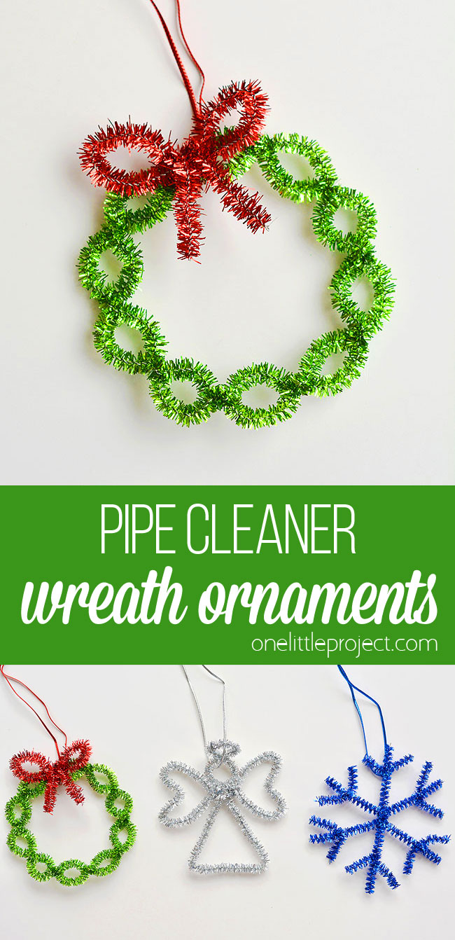These easy pipe cleaner wreath ornaments are so FESTIVE and really easy to make. Such a fun way to make homemade Christmas ornaments in less than 5 minutes!