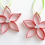 Paper Roll Poinsettia Ornaments