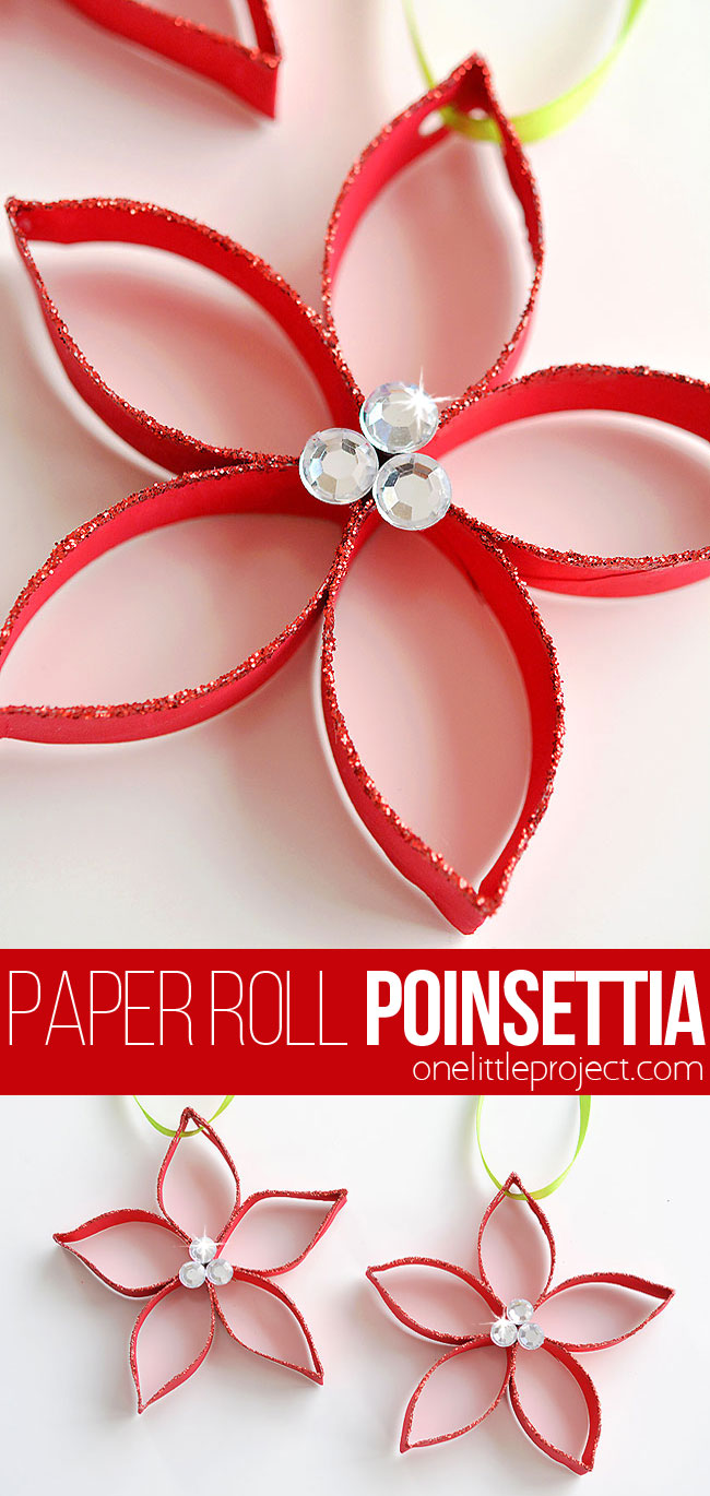 These paper roll poinsettias are SO FUN and they're really simple to make! This is such a great Christmas craft and a super fun homemade ornament to make with the kids! Who knew you could transform a simple paper roll into something so beautiful!? Such a great recycled craft!