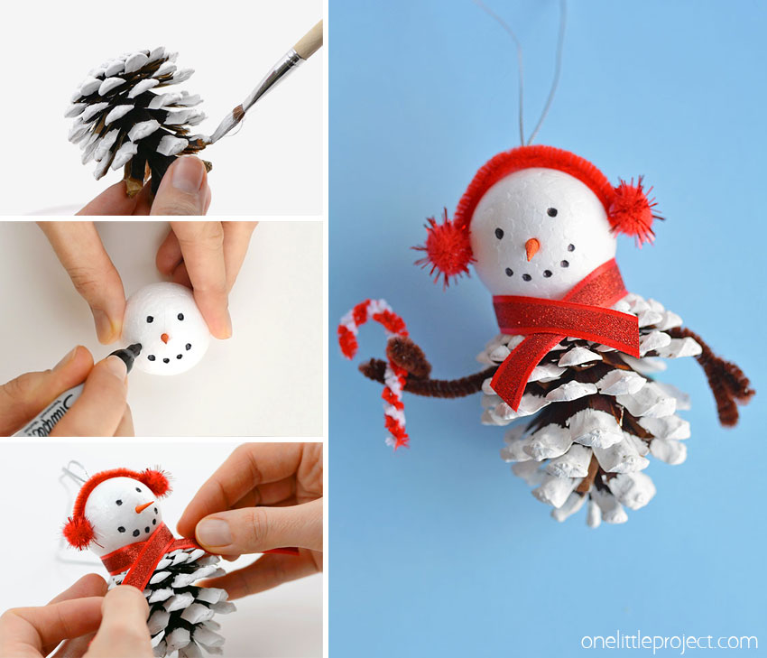 These pinecone snowman ornaments are so FUN and look super cute hanging from the tree! Such a fun Christmas craft for kids of all ages! Using dollar store supplies you can transform a regular old pinecone into a little bundled-up snowman complete with a top hat, scarf and earmuffs! It's a great homemade Christmas ornament you can pull out year after year. Or you can leave it up all winter long as a frosty decoration!