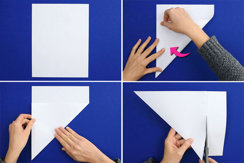 How to cut a piece of paper into a square