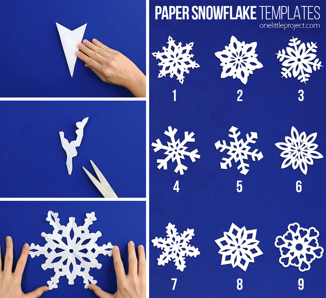 Paper snowflakes are SO SIMPLE and super inexpensive to make! Follow these 7 easy steps for how to make paper snowflakes. This is such a classic kids craft and a super fun winter activity for kids, teens, tweens, grown ups and seniors. Make up your own designs or use one of our printable paper snowflakes templates. It's easy to make beautiful and perfect looking snowflakes every single time!