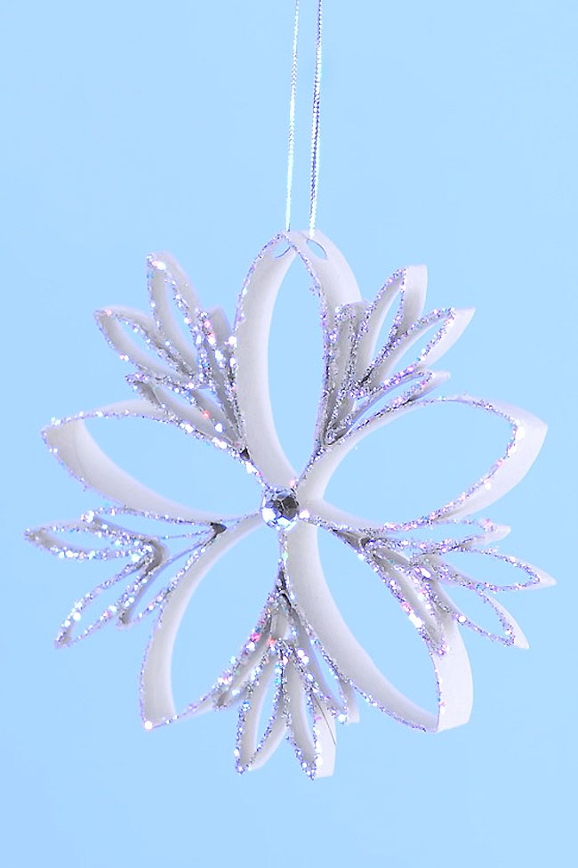 These paper roll snowflakes are SO BEAUTIFUL and really easy to make! This is such a great Christmas craft that you can leave up all winter long. Hang them on the Christmas tree, or in the window as a beautiful winter decoration. This is such a great winter craft idea and a fun way to recycle empty toilet paper rolls!