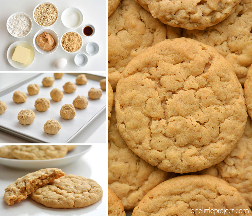 These peanut butter oatmeal cookies are SO GOOD! These yummy cookies are soft and chewy and have just the right amount of creamy peanut butter flavour!