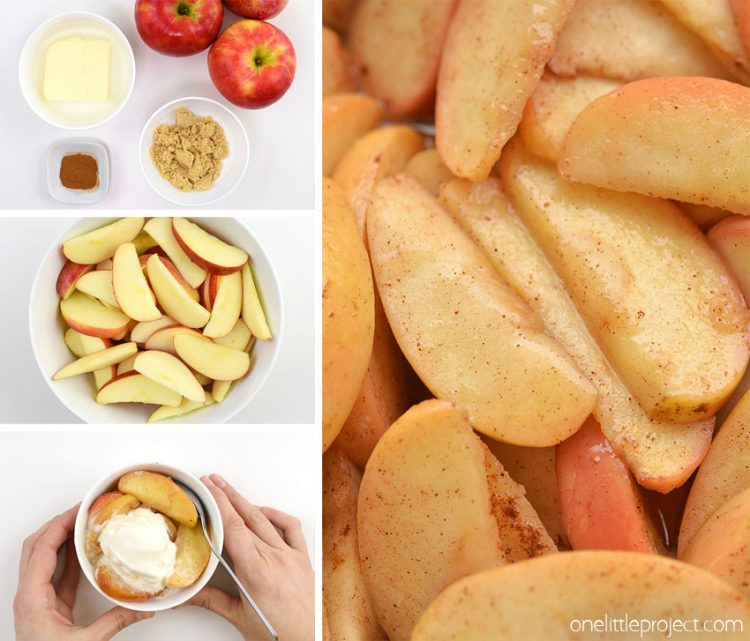 These baked apple slices are SO GOOD and they're really easy to make! With only 4 ingredients you can make this delicious, gluten free dessert in no time. This is such a great dessert recipe and a super comforting treat in winter. These baked cinnamon apple slices will satisfy any craving for apple pie without the fuss of actually making one!