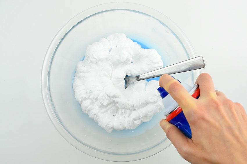 How to Make Slime Fluffy - Adding shaving cream.
