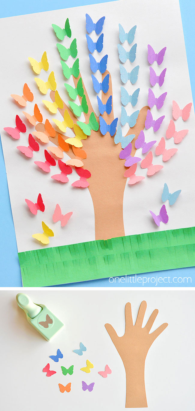 Rainbow handprint tree craft