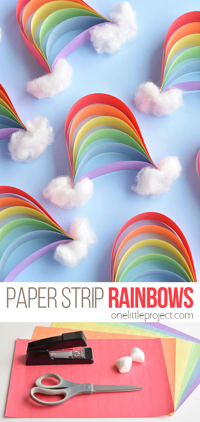 These paper strip rainbows are SO CUTE and they're really easy to make! Such a great construction paper craft and a fun craft for springtime (or any time!).