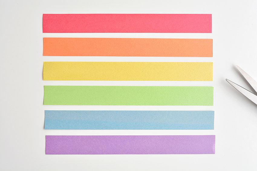 Paper Strip Rainbows - 6 paper strips in the colours of the rainbow.