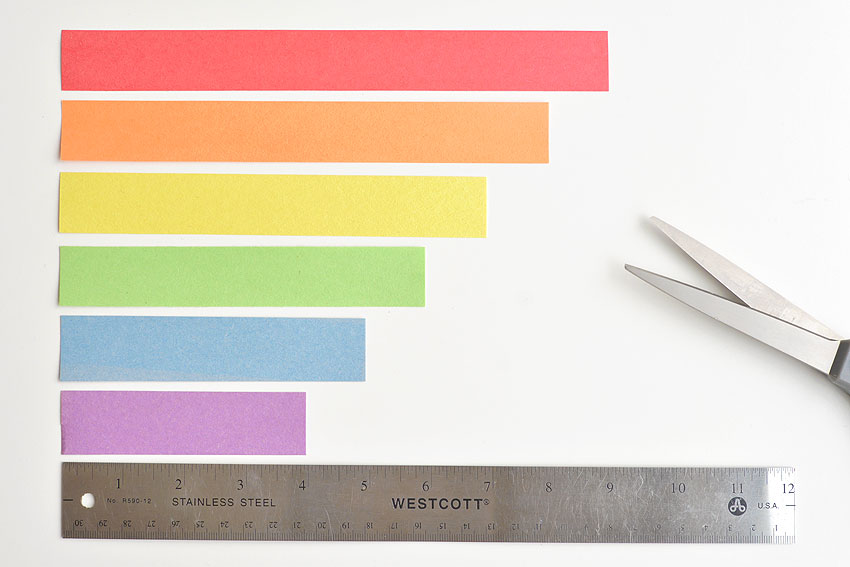 Paper Strip Rainbows - Cut each strip into varying lengths.