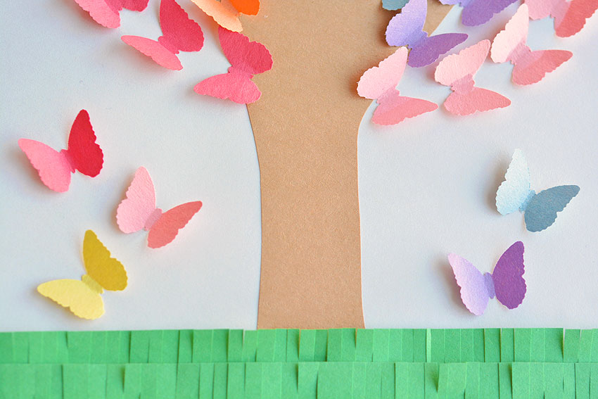 Handprint Butterfly Tree Made From Construction Paper - Glue some stray butterflies underneath the tree.