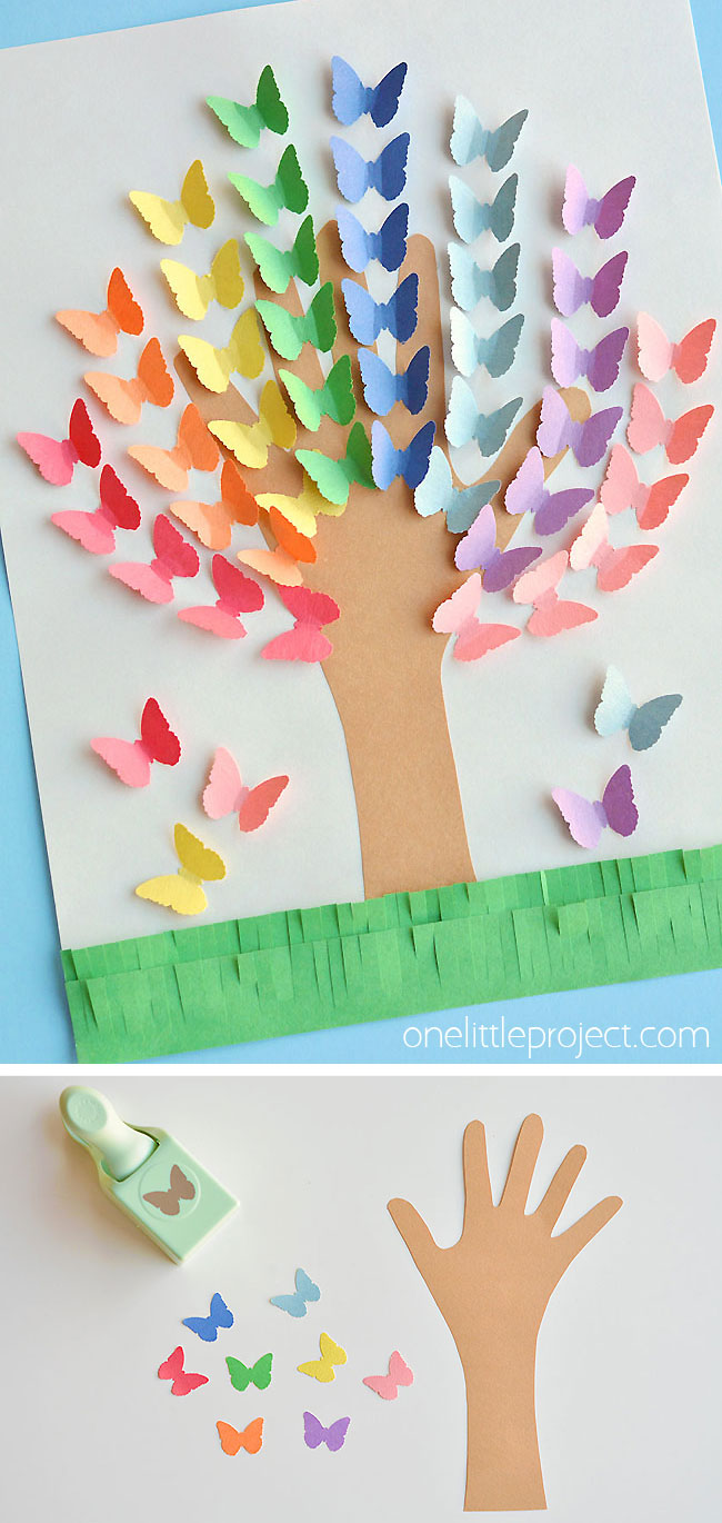 This construction paper handprint butterfly tree is SO PRETTY and it's really simple to make! The butterflies look 3D on the paper! This is such a great construction paper craft and a super fun kids craft for spring and summer. A great craft to try with bored kids!