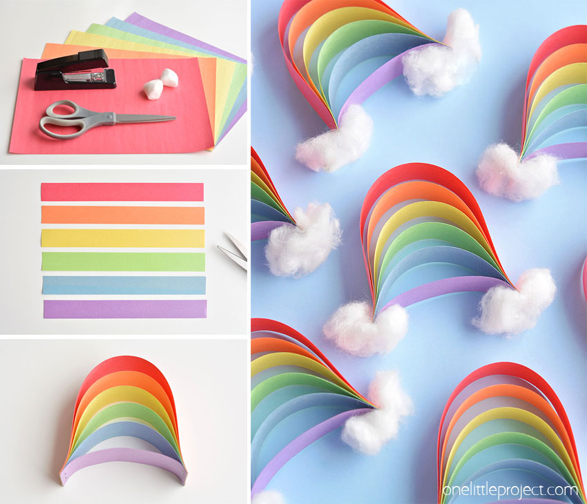 how to make a rainbow from paper strips