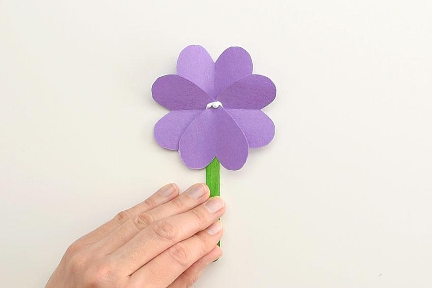 Paper Heart Flowers - Add the final heart - upside down.