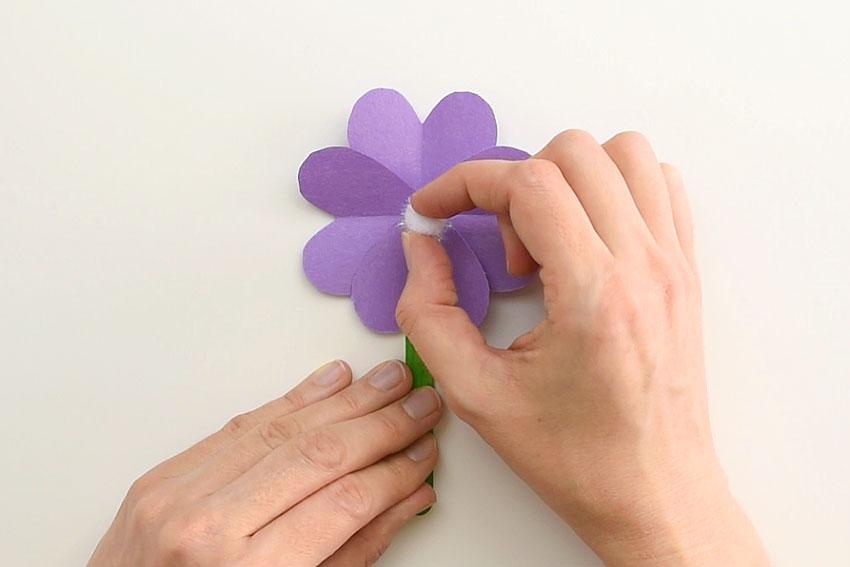 Paper Heart Flowers - Add the pom pom centre.