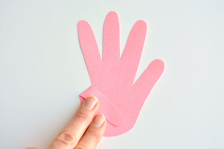 Paper Handprint Bunnies - Fold the pinky finger down