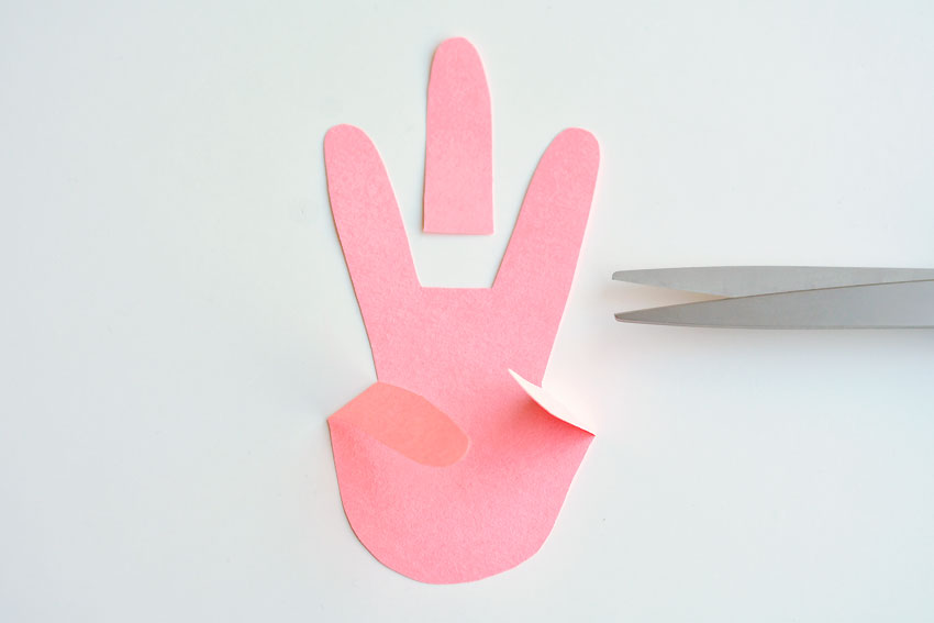 Paper Handprint Bunnies - Cut off the middle finger