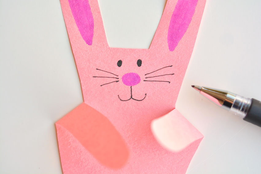 Paper Handprint Bunnies - Draw the face (eyes, whiskers and mouth)