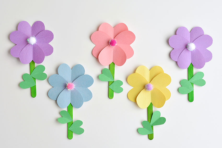 Paper Heart Flowers - Repeat steps with other colours.