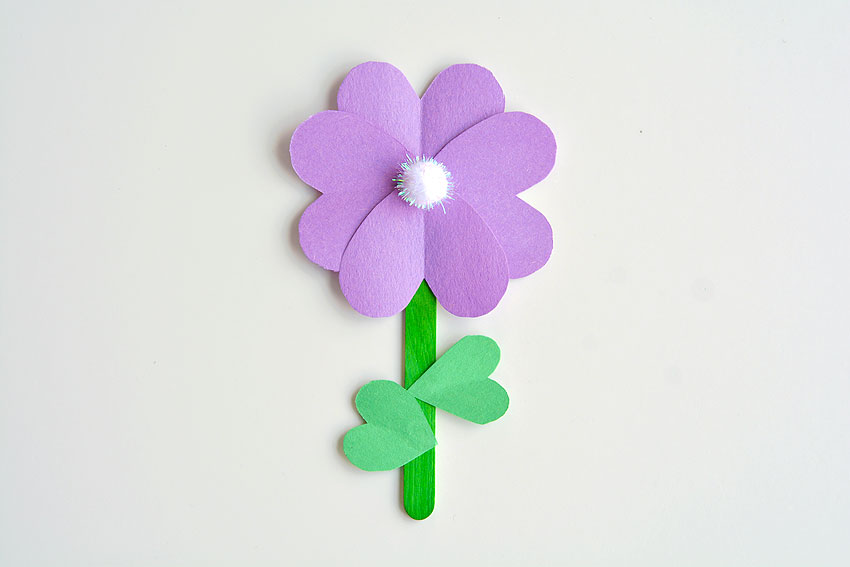 Paper Heart Flowers - Add the heart leaves onto the Popsicle stick.