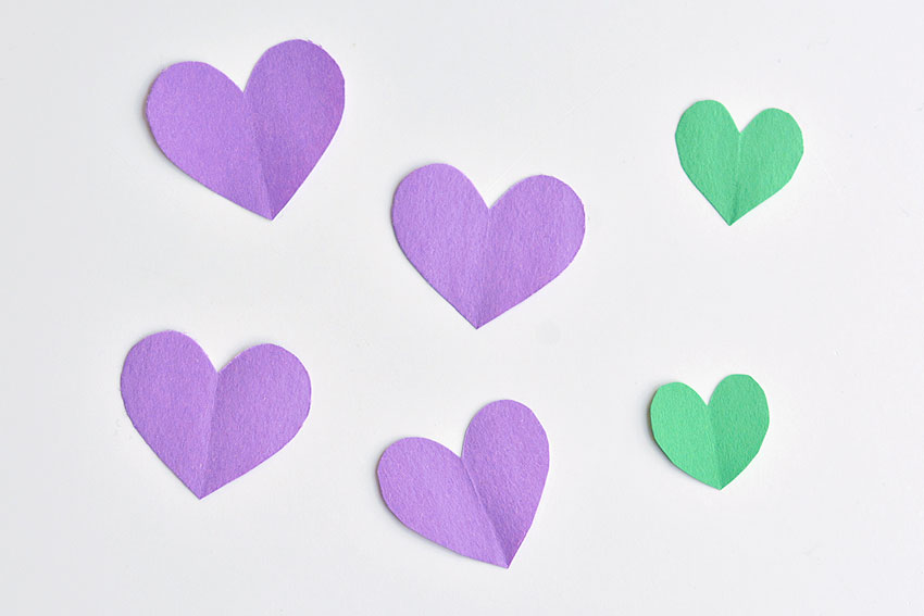 Paper Heart Flowers - 4 larger hearts (flower petals) 2 small ones (leaves)