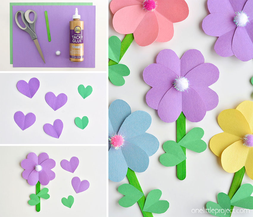 These paper heart flowers made from construction paper, popsicle sticks and pom poms are SO CUTE. And they're really easy to make! You can make these flowers using simple craft supplies - and they look so pretty! This is such a great craft for spring and summer and a great kids craft for Mother's Day.