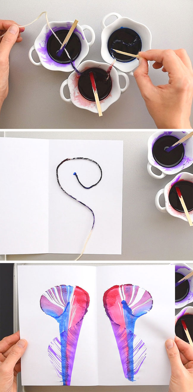 String painting design with 3 colours