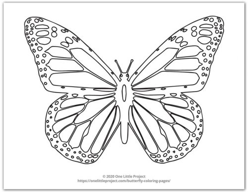 Butterfly Coloring Pages Free Printable Butterflies One Little Project
