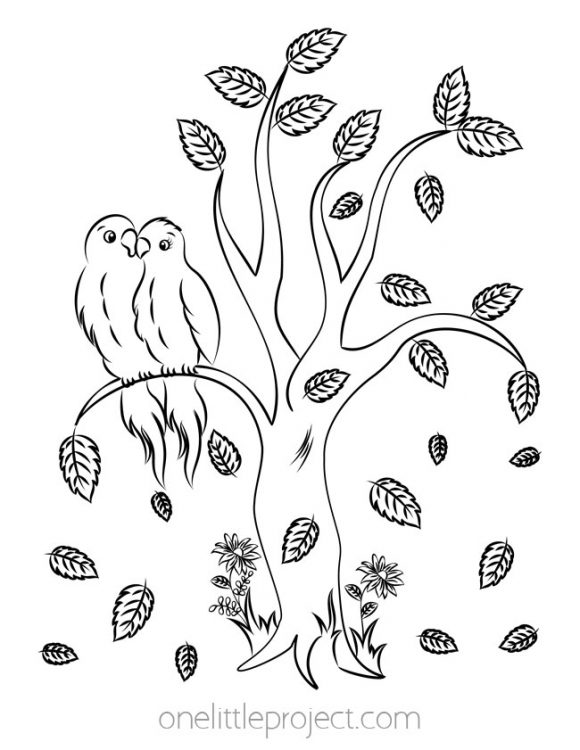 Tree with Falling Leaves and Lovebirds Coloring Page