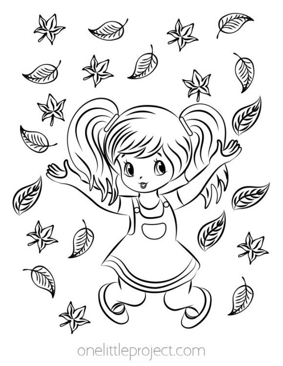Playing in the Leaves Coloring Page
