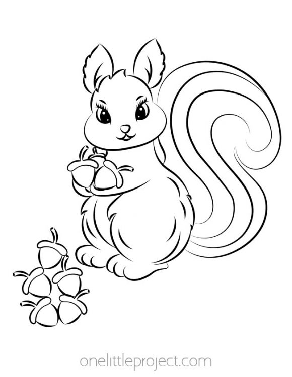 Squirrel Collecting Acorns Coloring Page