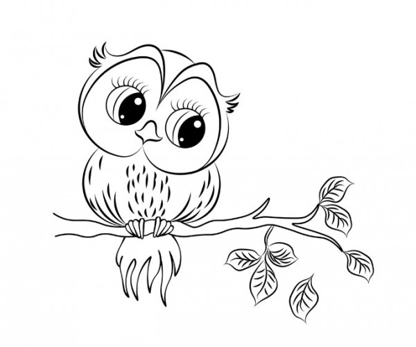 Owl Fall Coloring Page