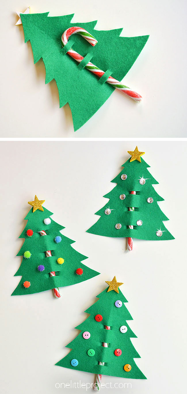 Felt and Candy Cane Christmas Tree Favors