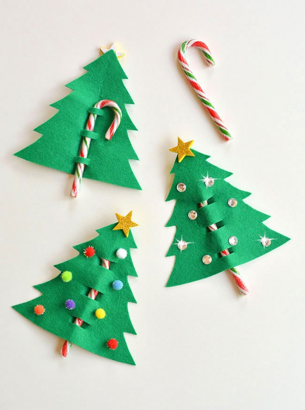 40+ Easy Christmas Crafts for Kids - Candy Cane and Felt Christmas Tree